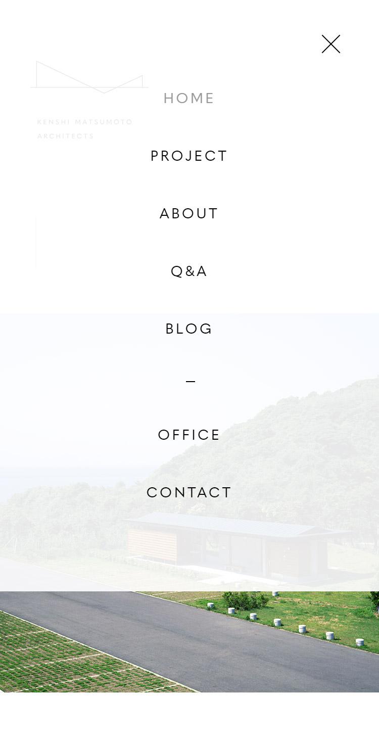 KENSHI MATSUMOTO ARCHITECTS メニュー