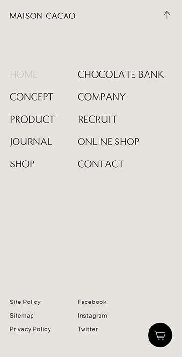 MAISON CACAO公式ブランドサイト メニュー