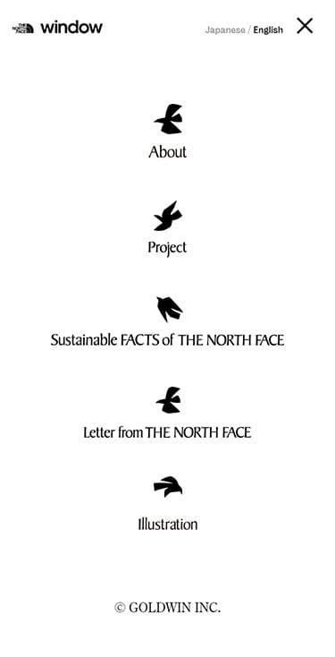 THE NORTH FACE | Window メニュー