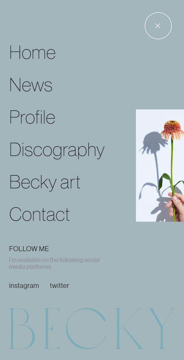 ベッキーオフィシャルWEBサイト メニュー