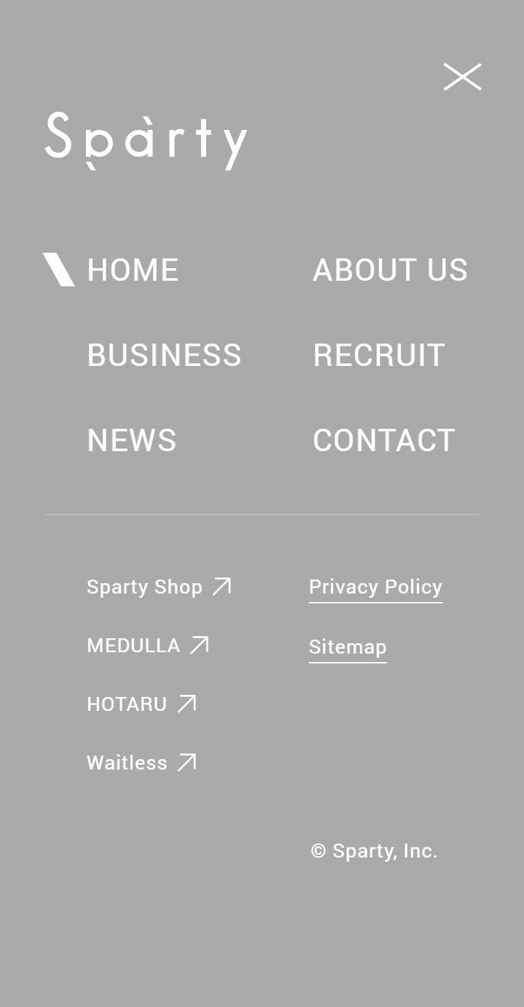Sparty, Inc.   パーソナライズ×D2Cを基軸としたテックカンパニー メニュー